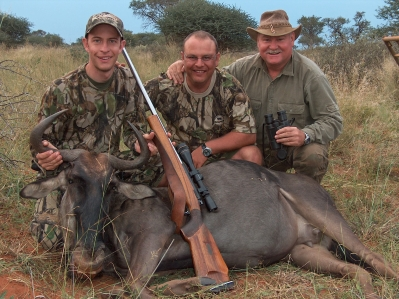 Hennie, Morne, Gerhard with Blue Wildebeest taken at Ratelpan